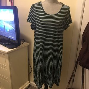 Gap navy blue and green striped dress